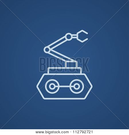 Industrial mechanical robot arm line icon for web, mobile and infographics. Vector light blue icon isolated on blue background.