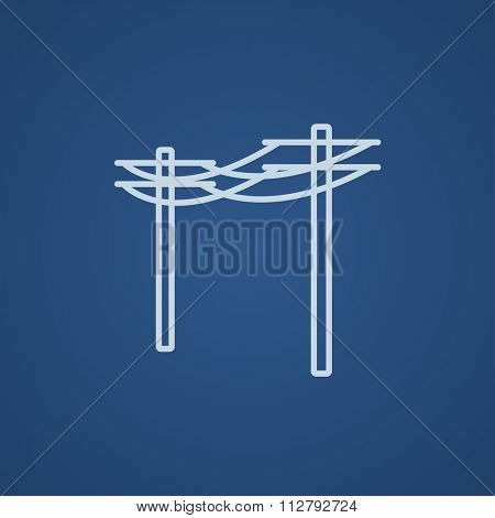 High voltage power lines line icon for web, mobile and infographics. Vector light blue icon isolated on blue background.