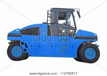 The image of road roller under the white background