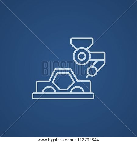 Automated assembly line for cars line icon for web, mobile and infographics. Vector light blue icon isolated on blue background.