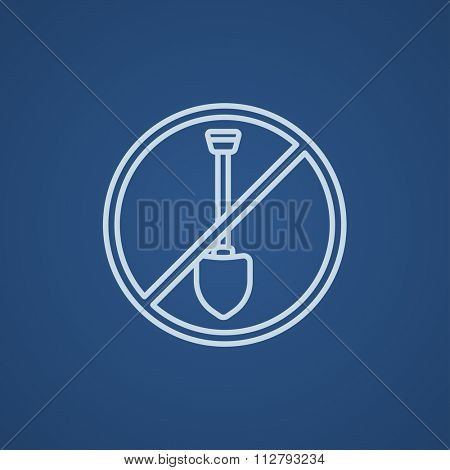 Shovel forbidden sign line icon for web, mobile and infographics. Vector light blue icon isolated on blue background.