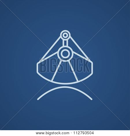Mining industrial scoop line icon for web, mobile and infographics. Vector light blue icon isolated on blue background.