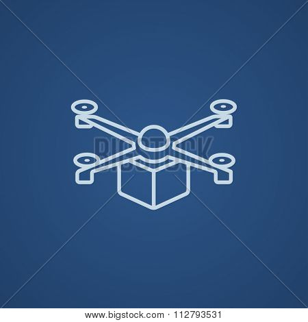 Drone delivering a package line icon for web, mobile and infographics. Vector light blue icon isolated on blue background.