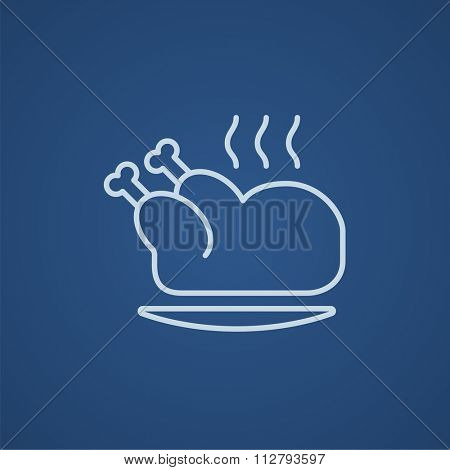 Baked whole chicken line icon for web, mobile and infographics. Vector light blue icon isolated on blue background.