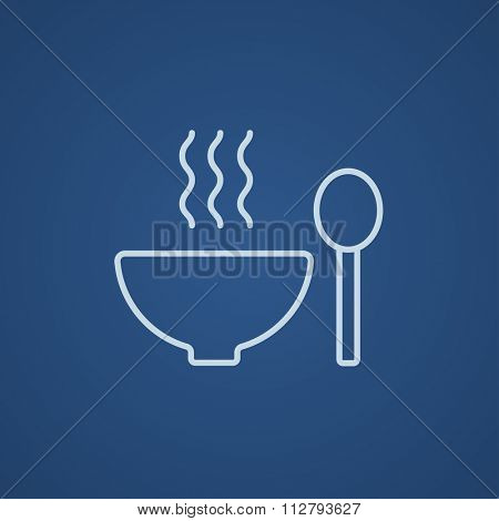 Bowl of hot soup with spoon line icon for web, mobile and infographics. Vector light blue icon isolated on blue background.