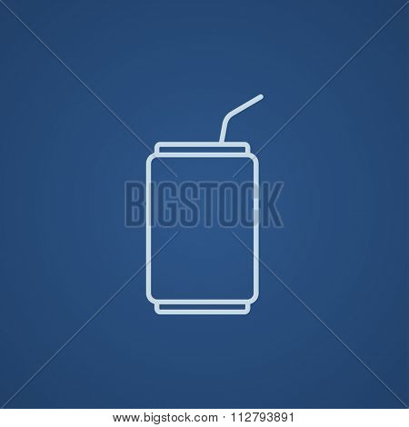 Soda can with drinking straw line icon for web, mobile and infographics. Vector light blue icon isolated on blue background.