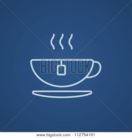Hot tea in a cup line icon for web, mobile and infographics. Vector light blue icon isolated on blue background.