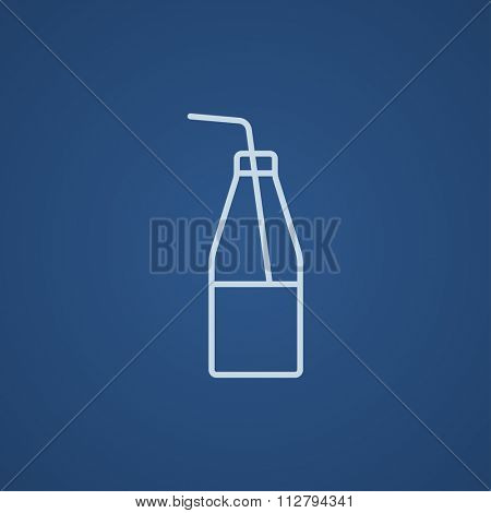 Glass bottle with drinking straw line icon for web, mobile and infographics. Vector light blue icon isolated on blue background.