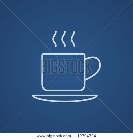 Cup of hot drink line icon for web, mobile and infographics. Vector light blue icon isolated on blue background.