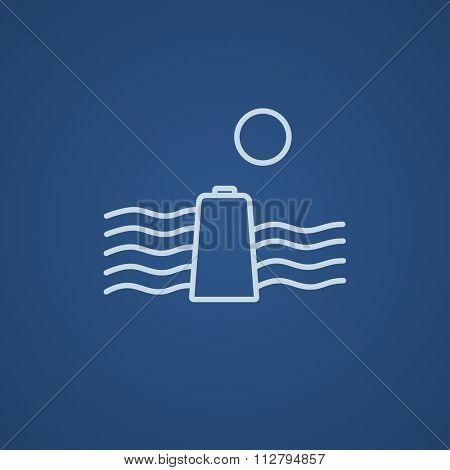 Sun and water waves with battery line icon for web, mobile and infographics. Vector light blue icon isolated on blue background.