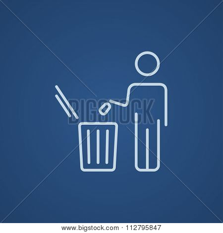 Man throwing garbage in a bin line icon for web, mobile and infographics. Vector light blue icon isolated on blue background.