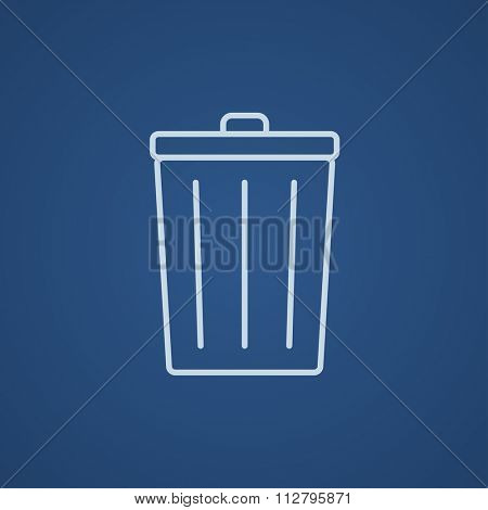 Trash can line icon for web, mobile and infographics. Vector light blue icon isolated on blue background.