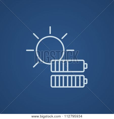 Sun with two batteries line icon for web, mobile and infographics. Vector light blue icon isolated on blue background.