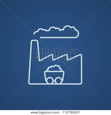 Factory line icon for web, mobile and infographics. Vector light blue icon isolated on blue background.
