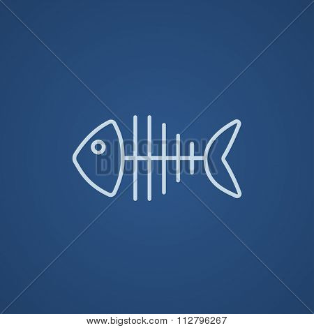 Fish skeleton line icon for web, mobile and infographics. Vector light blue icon isolated on blue background.