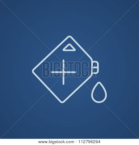 Gas container line icon for web, mobile and infographics. Vector light blue icon isolated on blue background.