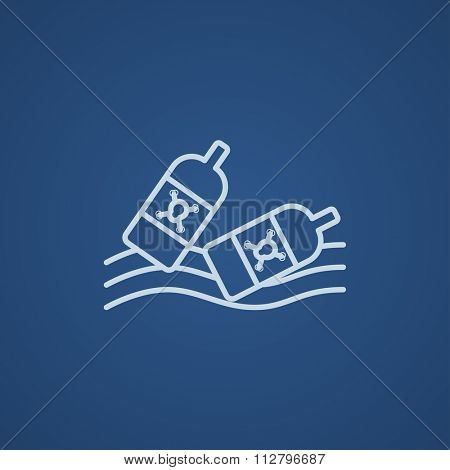 Bottles floating in the water line icon for web, mobile and infographics. Vector light blue icon isolated on blue background.