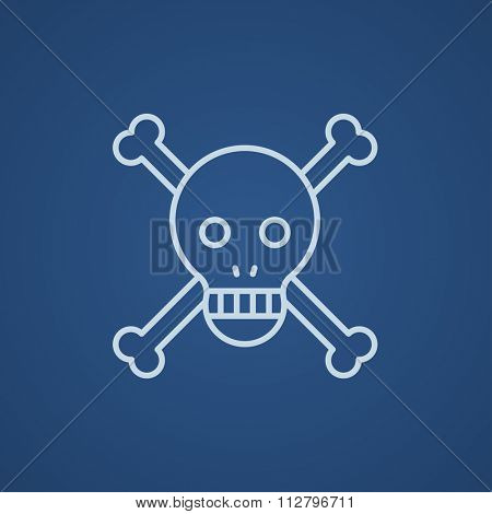 Skull and cross bones line icon for web, mobile and infographics. Vector light blue icon isolated on blue background.