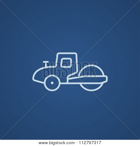 Road roller line icon for web, mobile and infographics. Vector light blue icon isolated on blue background.