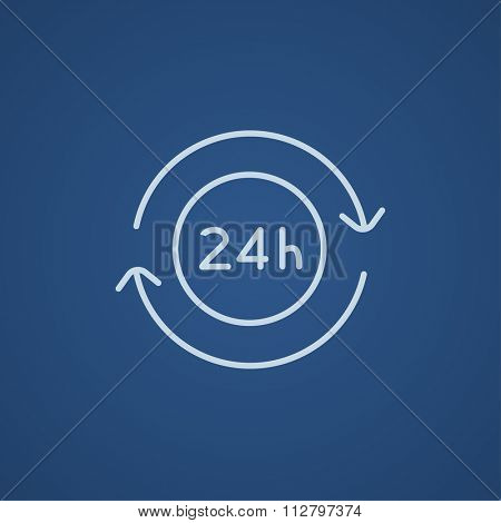Service 24 hrs line icon for web, mobile and infographics. Vector light blue icon isolated on blue background.