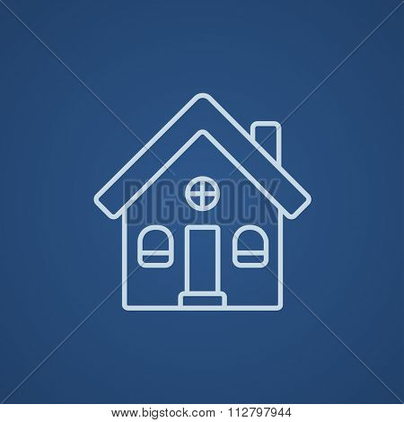 Detached house line icon for web, mobile and infographics. Vector light blue icon isolated on blue background.