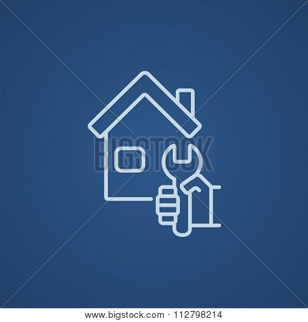 House with wrench line icon for web, mobile and infographics. Vector light blue icon isolated on blue background.