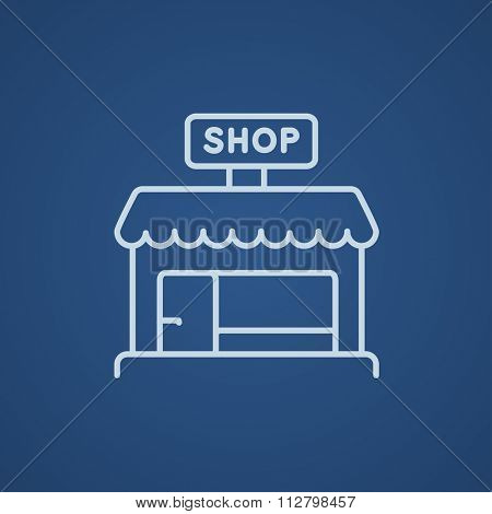 Shop store line icon for web, mobile and infographics. Vector light blue icon isolated on blue background.