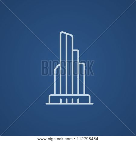Skyscraper office building line icon for web, mobile and infographics. Vector light blue icon isolated on blue background.