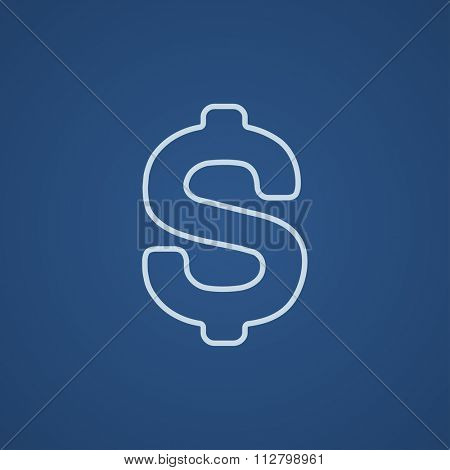 Dollar symbol line icon for web, mobile and infographics. Vector light blue icon isolated on blue background.