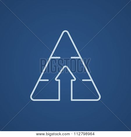 Pyramid with arrow up line icon for web, mobile and infographics. Vector light blue icon isolated on blue background.