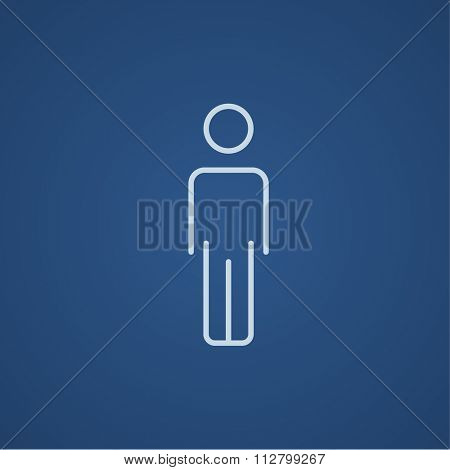 Businessman standing  line icon for web, mobile and infographics. Vector light blue icon isolated on blue background.