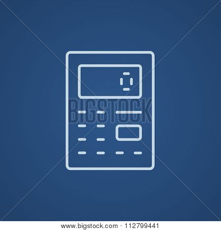 Calculator line icon for web, mobile and infographics. Vector light blue icon isolated on blue background.