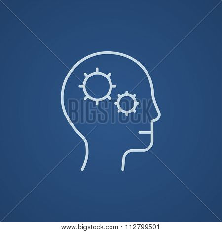 Human head with gear line icon for web, mobile and infographics. Vector light blue icon isolated on blue background.