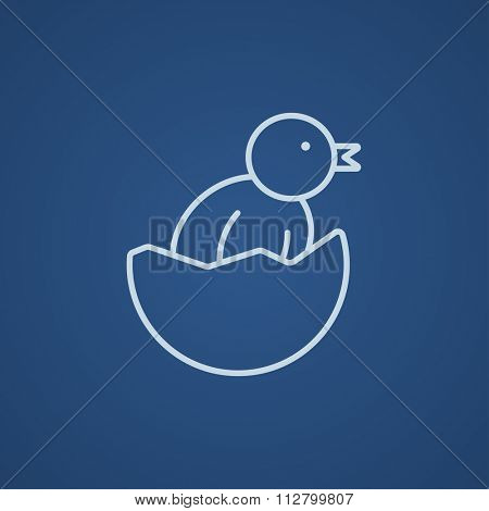 Chick peeking out of an egg shell line icon for web, mobile and infographics. Vector light blue icon isolated on blue background.