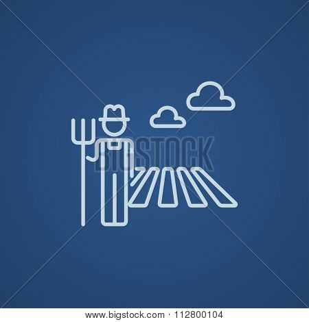 Farmer with pitchfork standing on the field line icon for web, mobile and infographics. Vector light blue icon isolated on blue background.