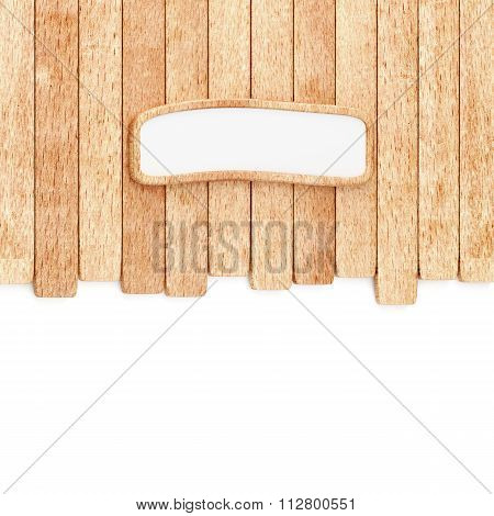 Wood planks background with empty signboard