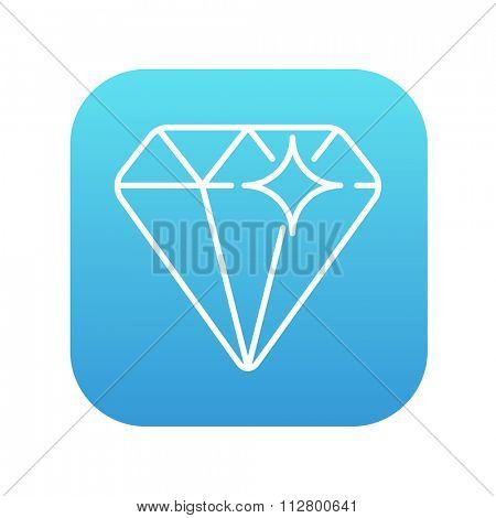 Diamond line icon for web, mobile and infographics. Vector white icon on the blue gradient square with rounded corners isolated on white background.