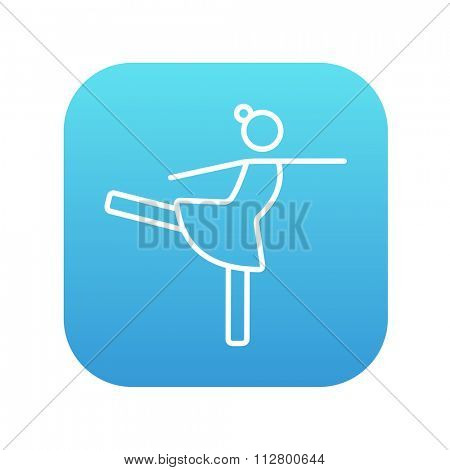 Female figure skater line icon for web, mobile and infographics. Vector white icon on the blue gradient square with rounded corners isolated on white background.