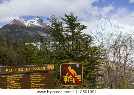 Perito Moreno Glacier Warning Sign