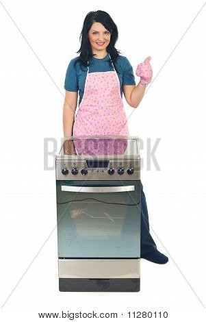 Successful Cook Woman Give Thumbs