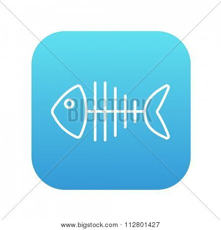 Fish skeleton line icon for web, mobile and infographics. Vector white icon on the blue gradient square with rounded corners isolated on white background.