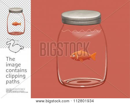 The illustration of a glass jar with a gold fish in it.  A part of Dodo collection, a set of educational cards for children. The image has clipping paths so you can cut the image from the background.