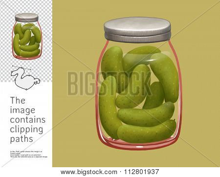 The illustration of a jar of canned gherkins.  A part of Dodo collection - a set of educational cards for children. The image has clipping paths and you can cut the image from the background.