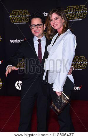 LOS ANGELES - DEC 14:  J.J. Abrams & Katie McGrath arrives to the