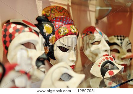 Venetian Carnival Masks In A Shop In Venice, Italy