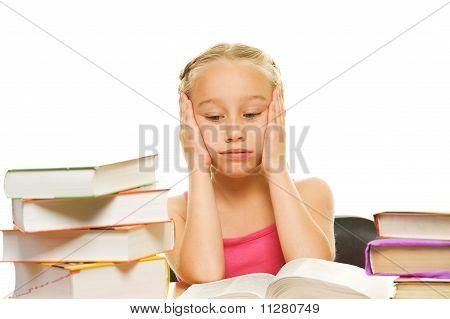 Tired little schoolgirl