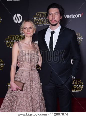 LOS ANGELES - DEC 14:  Adam Driver & Joanne Tucker arrives to the