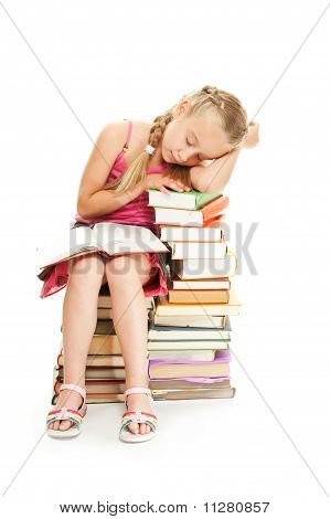 Young schoolgirl fall asleep