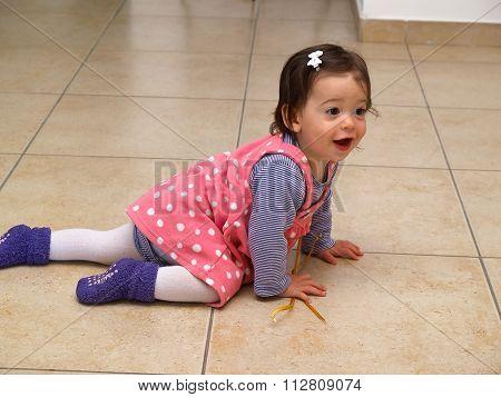 Cute Crawling Baby Toddler Girl