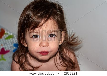 Cute Toddler Baby Girl Looking  With Surprise Curious Face